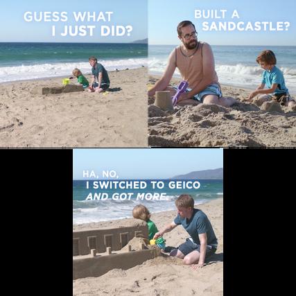 Сцены из видеоролика Geico, адаптированного для использования на Facebook.
